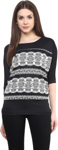 Mayra Party Short Sleeve Printed Women's Black Top