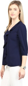 Rare Casual 3/4th Sleeve Solid Women's Blue Top