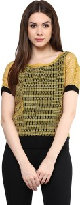 Mayra Party Short Sleeve Solid Women's Yellow Top