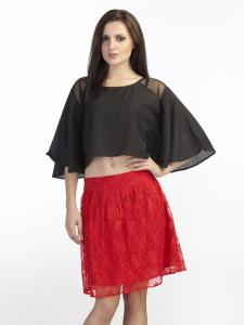 Schwof Party Short Sleeve Solid Women's Black Top