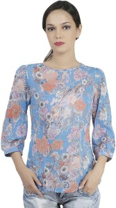 Mask Lifestyle Casual 3/4th Sleeve Printed Women's Multicolor Top