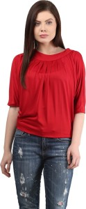 Mayra Casual Balloon Sleeve Solid Women's Red Top