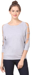 Fashion Expo Casual 3/4th Sleeve Solid Women's Grey Top