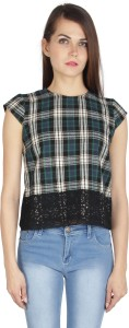 I Am For You Casual Cap Sleeve Checkered Women's Green Top