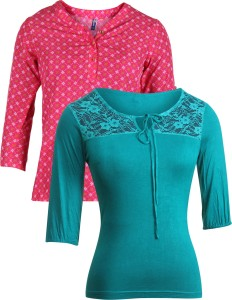 Vvoguish Casual 3/4th Sleeve Printed Women's Pink, Green Top