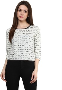 Mayra Party 3/4th Sleeve Printed Women's White Top