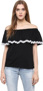 Harpa Casual Sleeveless Solid Women's Black Top