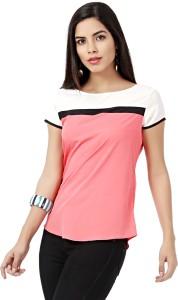 Eavan Casual Short Sleeve Solid Women Pink, White Top