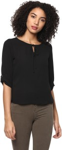Harpa Casual 3/4th Sleeve Solid Women's Black Top