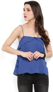 MANGO Casual Sleeveless Solid Women's Blue Top