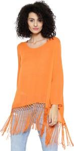Sassafras Casual Full Sleeve Solid Women's Orange Top