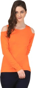 Fashion Expo Casual Full Sleeve Solid Women's Orange Top