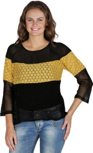 Mayra Party 3/4th Sleeve Solid Women's Yellow Top