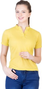Khhalisi Party Short Sleeve Printed Women's Yellow Top