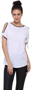 Trend Arrest Party Short Sleeve Solid Women's White Top