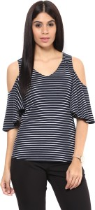 Hypernation Casual Bell Sleeve Striped Women's Blue, White Top