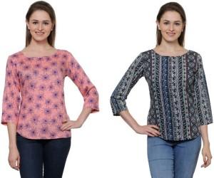 Stop Look Casual 3/4th Sleeve Printed Women Multicolor Top