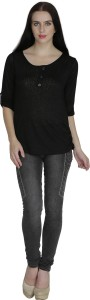 Svt Ada Collections Casual 3/4th Sleeve Solid Women's Black Top