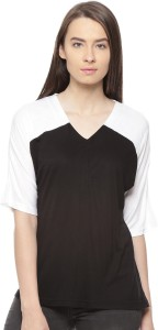 Vvoguish Casual 3/4th Sleeve Solid Women's Black, White Top