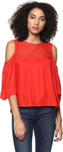Harpa Casual 3/4th Sleeve Solid Women's Red Top