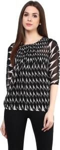 Mayra Casual 3/4th Sleeve Printed Women's Black Top