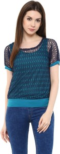 Mayra Party Short Sleeve Solid Women's Blue Top