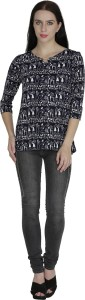 Svt Ada Collections Casual 3/4th Sleeve Printed Women's Black, White Top