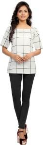Ziyaa Party Short Sleeve Checkered Women's White Top