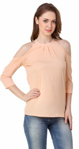 Big Pout Casual 3/4th Sleeve Solid Women's Beige Top