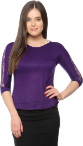 Vvoguish Casual 3/4th Sleeve Solid Women's Purple Top