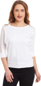 Miss Chase Casual 3/4th Sleeve Solid Women's White Top