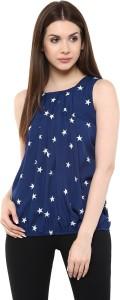 Mayra Casual Sleeveless Printed Women's Blue Top