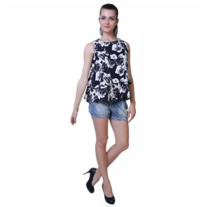 BuyNewTrend Casual Sleeveless Floral Print Women's Multicolor Top