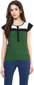 Avoir Envie Casual Short Sleeve Solid Women's Multicolor Top