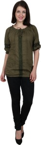 Shopaholic Casual 3/4th Sleeve Solid Women's Dark Green Top