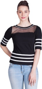 Veakupia Party Short Sleeve Striped Women's Black, White Top