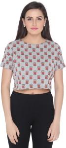 Imagica Casual Short Sleeve Printed Women's Grey Top