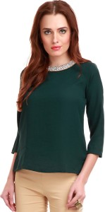 Sassafras Casual 3/4th Sleeve Solid Women's Green Top