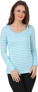 Texco Casual Full Sleeve Striped Women's Light Blue, White Top