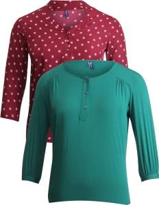 Vvoguish Casual 3/4th Sleeve Printed Women's Maroon, Green Top