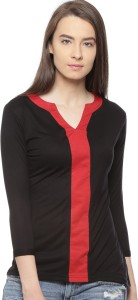 Vvoguish Casual 3/4th Sleeve Solid Women's Black, Red Top