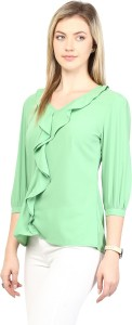 Rare Casual 3/4th Sleeve Solid Women's Green Top