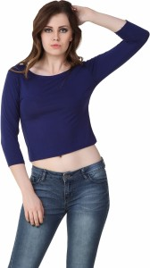 Big Pout Casual 3/4th Sleeve Solid Women's Blue Top