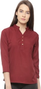 Vvoguish Casual 3/4th Sleeve Solid Women's Maroon Top
