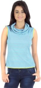 Vea Kupia Casual Sleeveless Striped Women's Blue Top