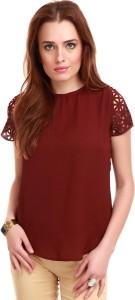 Sassafras Casual Short Sleeve Solid Women's Maroon Top