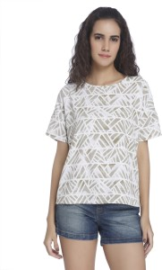 Vero Moda Casual Short Sleeve Printed Women's Green, White Top