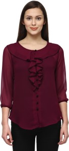 Tunic Nation Casual 3/4th Sleeve Solid Women's Maroon Top