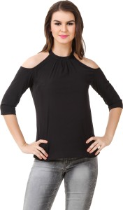 Big Pout Casual 3/4th Sleeve Solid Women's Black Top