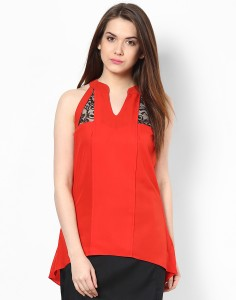 Athena Casual Sleeveless Solid Women's Red, Black Top